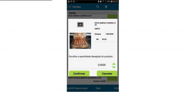 Tela para adicionar um produto no carrinho, com imagem do produto, nome, quantidade em estoque, preço de venda e opção para informar a quantidade no pedido