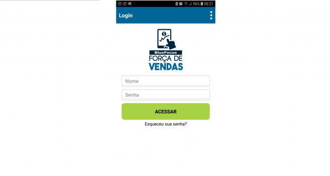 Tela de abertura do app blueFocus Força de Vendas, com acesso por usuário e senha de vendedor