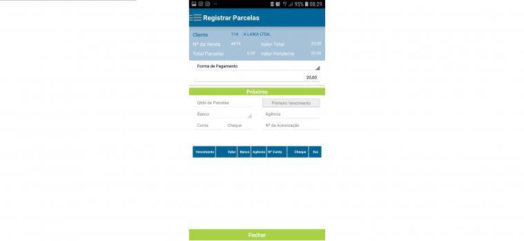 Registro das parcelas de pagamento do cliente, com opção de informar mais de uma forma de pagamento diferentes na mesma venda, exemplo: entrada em dinheiro e restante no cartão de crédito parcelado
