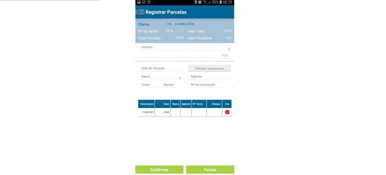 Tela para registro das parcelas de pagamento do cliente: forma de pagamento, qtde.parcelas, data do primeiro vencimento, dados bancários e nº da autorização