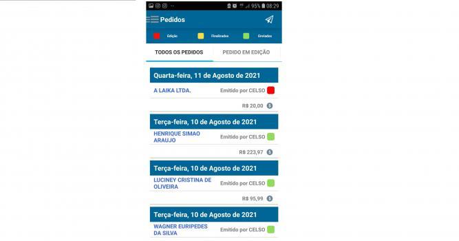 Tela de consulta dos pedidos registrados, com data, nome do cliente, valor do pedido, nome do vendedor e situação do pedido em cores: Edição(vermelho), Finalizado(amarelo), Enviado(verde)